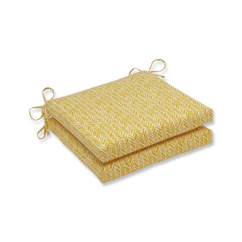 "Set of 2 Yellow and White Herringbone Outdoor Patio Chair Seat Cushions 20"" - IMAGE 1"