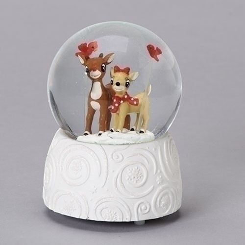 Pack of 2 Brown and White Decorative Rudolph and Clarice Glitter Musical Dome 6 - IMAGE 1