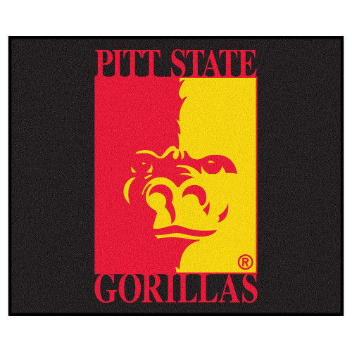 5' x 6' Black and Red NCAA Pittsburgh State University Gorillas Rectangular Outdoor Area Rug - IMAGE 1
