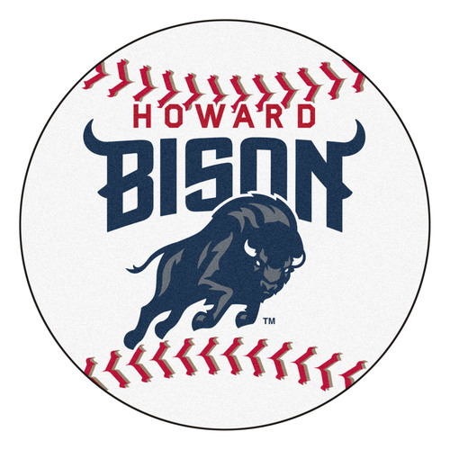 """27"""" White and Blue NCAA Howard University Bison Round Mat Area Rug - IMAGE 1"""