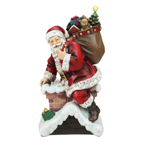 """11"""" Red Santa Going Down The Chimney Christmas Tabletop Figurine - IMAGE 1"""