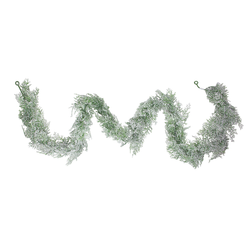 """6' x 5"""" Frosted Cedar Artificial Christmas Garland - Unlit - IMAGE 1"""