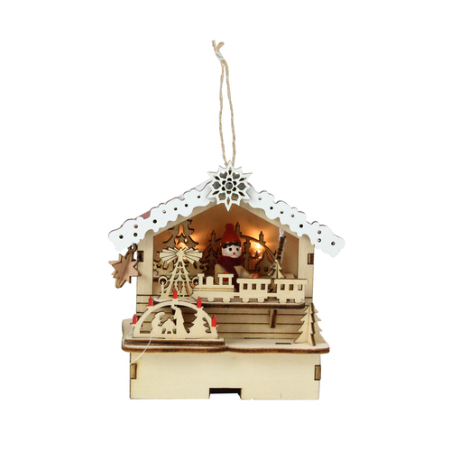 """4.25"""" Pre-Lit White and Brown Toy Shop Christmas Ornament - IMAGE 1"""