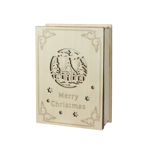 "8.25"" Beige and Red LED Lighted Cut Merry Christmas Book Tabletop Decoration - IMAGE 1"