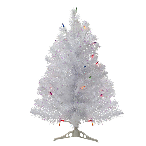 2' Pre-Lit Medium White Iridescent Pine Artificial Christmas Tree - Multicolor Lights - IMAGE 1