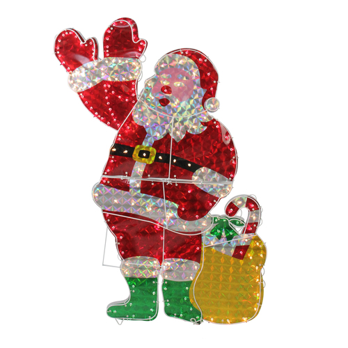 "48"" Holographic Lighted Waving Santa Claus Christmas Yard Art Decoration - IMAGE 1"