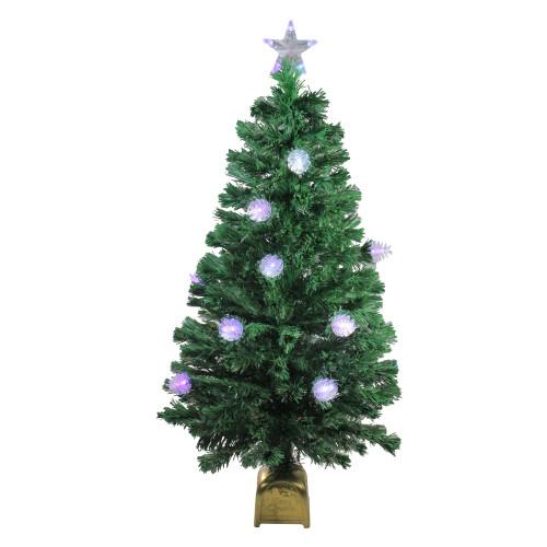 4' Pre-Lit Medium Fiber Optic Pine Cone Artificial Christmas Tree - Multicolor LED Lights - IMAGE 1