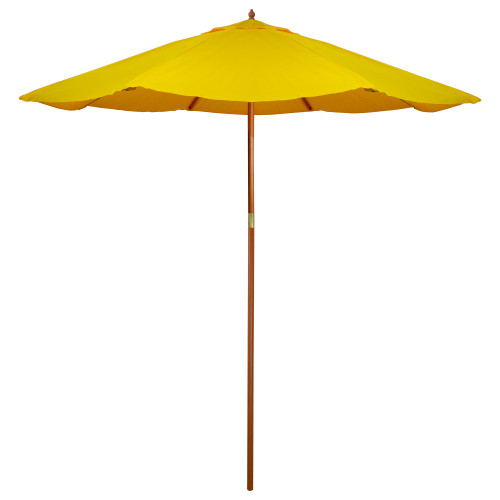 9ft Outdoor Patio Market Umbrella with Wooden Pole, Yellow - IMAGE 1