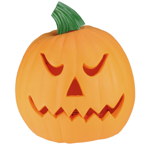 "9.75"" Orange and Green Animated Double-Sided Pumpkin Halloween Decor - IMAGE 1"