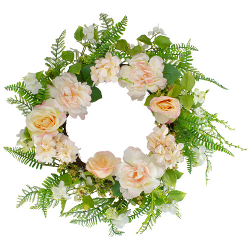 Rose and Peony Fern Artificial Floral Spring Wreath, Pink - 24-Inch - IMAGE 1