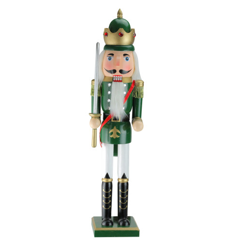 """24"""" Green and Gold Christmas Nutcracker King with Sword - IMAGE 1"""