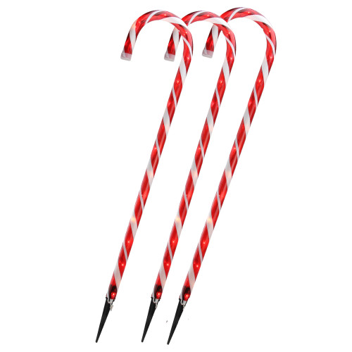 """Set of 3 Red and White Blinking Candy Cane Outdoor Christmas Pathway Markers 28"""" - IMAGE 1"""