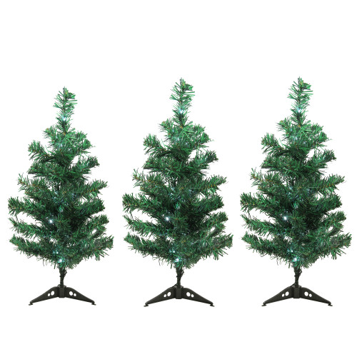 Set of 3 LED Lighted Christmas Tree Driveway or Pathway Markers Outdoor Decorations - IMAGE 1