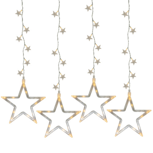 100 Clear LED Star Silhouette Window Curtain Christmas Lights - 3.3 ft Clear Wire - IMAGE 1