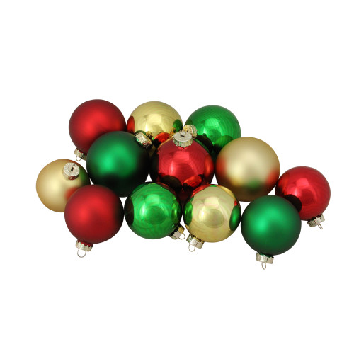 """72ct Red and Gold 2-Finish Glass Christmas Ball Ornaments 4"""" (100mm) - IMAGE 1"""