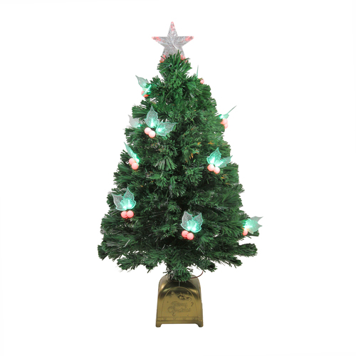 3' Pre-Lit Medium Profile Holly Berries Artificial Christmas Tree - Multi-Color LED Lights - IMAGE 1