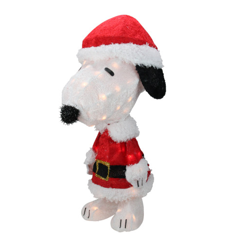 "24"" Pre-Lit Peanuts Snoopy in Santa Suit Christmas Outdoor Decor - Clear Lights - IMAGE 1"