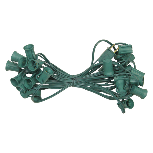 25' Green Commercial C9 Christmas Light Socket Set - IMAGE 1