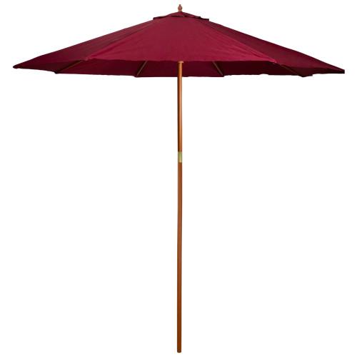 9ft Outdoor Patio Market Umbrella with Wood Pole, Burgundy - IMAGE 1