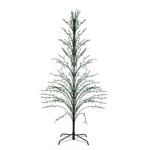 9' Black Pre-Lit Artificial Cascade Twig Christmas Tree - Green Lights - IMAGE 1