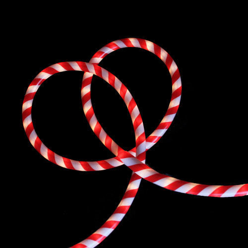 18' Red and White Striped Candy Cane Christmas Rope Light - IMAGE 1