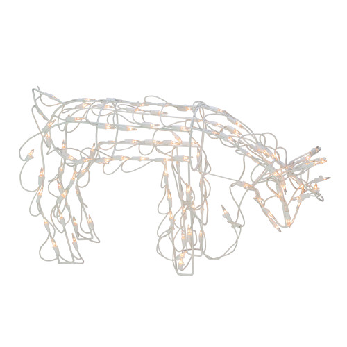 """25"""" White and Clear Standing Reindeer Outdoor Christmas Yard Decor - IMAGE 1"""