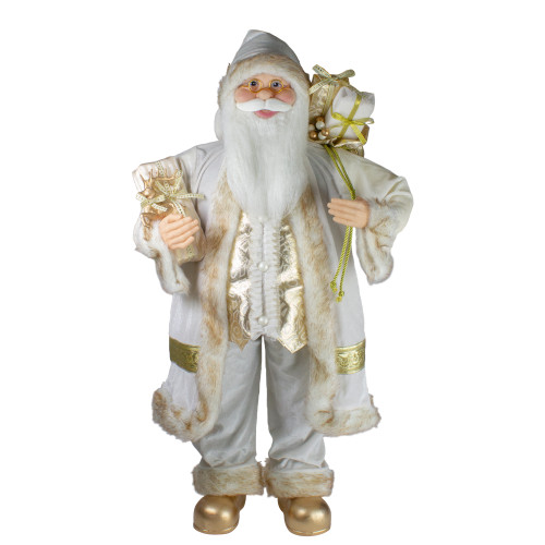 "36"" Glorious Winter White and Ivory Standing Santa Claus Christmas Figure with Gift Bag - IMAGE 1"