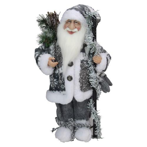 "16"" Gray and White Standing Santa Claus Christmas Figurine - IMAGE 1"