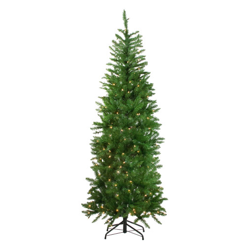 7.5' Pre-Lit Pencil White River Fir Artificial Christmas Tree - Clear Lights - IMAGE 1