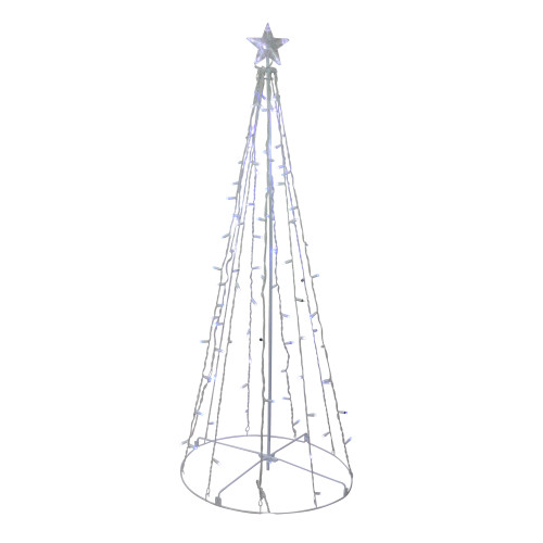5' Blue and White LED Lighted Twinkling Show Cone Christmas Tree Outdoor Decor - IMAGE 1
