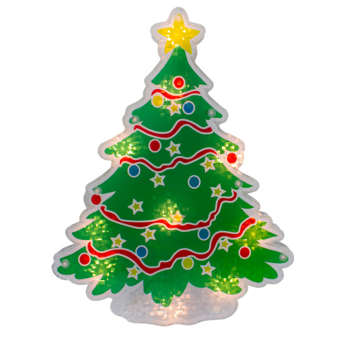 "12.5"" Lighted Holographic Christmas Tree Window Silhouette Decor - IMAGE 1"