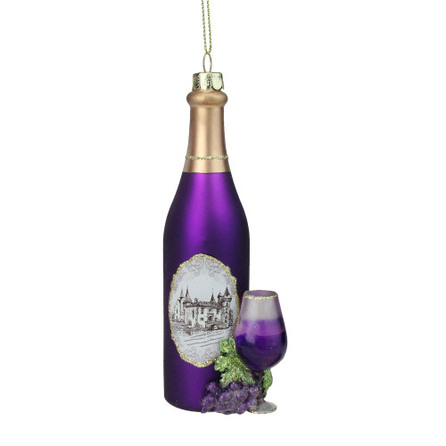 "5.75"" Purple Wine Country Glass Bottle Christmas Ornament - IMAGE 1"