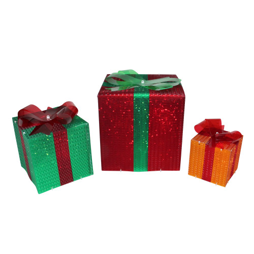 Set of 3 Lighted Glistening Gift Box and Bow Outdoor Christmas Decoration - IMAGE 1