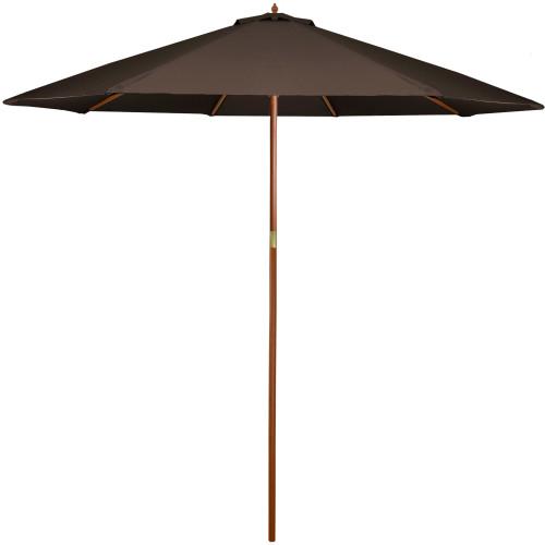 8' Outdoor Patio Market Umbrella - Brown and Cherry Wood - IMAGE 1