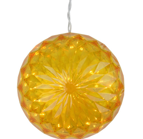 """6"""" Yellow LED Lighted Hanging Christmas Crystal Sphere Ball Outdoor Decoration - IMAGE 1"""