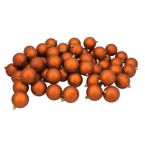 "60ct Burnt Orange Shatterproof Matte Christmas Ball Ornaments 2.5"" (60mm) - IMAGE 1"