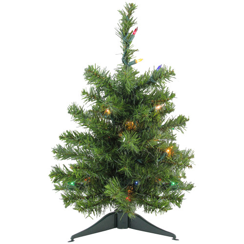 1.5' Pre-Lit Medium Canadian Pine Artificial Christmas Tree - Multicolor Lights - IMAGE 1