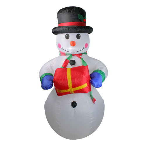 5' Pre-Lit White and Red Inflatable Lighted Snowman Christmas Yard Art Decor - IMAGE 1