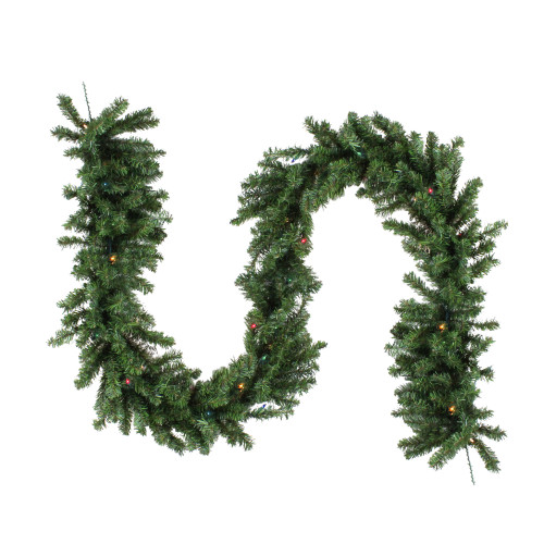 "9' x 14"" Pre-Lit Canadian Pine Artificial Christmas Garland - Multi Lights - IMAGE 1"