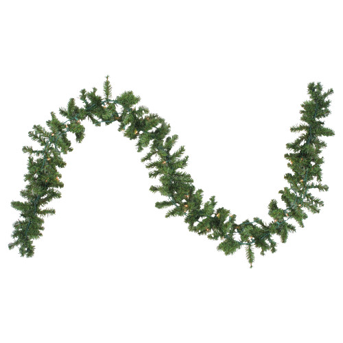 """9' x 8"""" Pre-Lit Canadian Pine Artificial Christmas Garland - Clear Lights - IMAGE 1"""