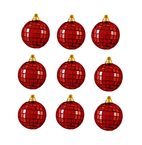 """9ct Red Hot Mirrored Glass Disco Ball Christmas Ornaments 1.5"""" (40mm) - IMAGE 1"""