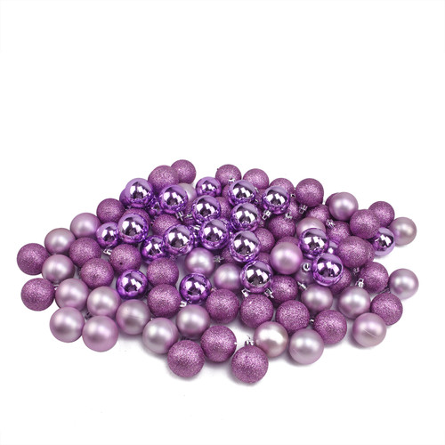 "96ct Purple Shatterproof 4-Finish Christmas Ball Ornaments 1.5"" (40mm) - IMAGE 1"