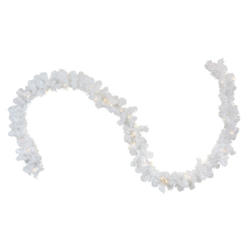 """9' x 10"""" Pre-Lit LED White Pine Artificial Christmas Garland - Clear Lights - IMAGE 1"""