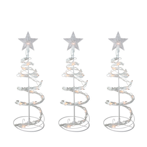"""Set of 3 White Clear Lighted Spiral Cone Walkway Christmas Trees Outdoor Decor 18"""" - IMAGE 1"""