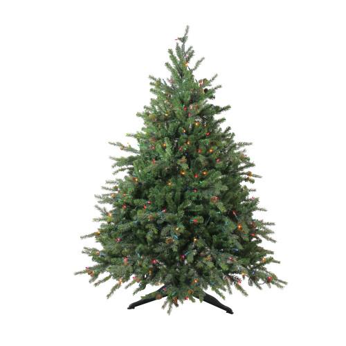 4.5' Pre-Lit Full Hunter Fir Artificial Christmas Tree - Multicolor Lights - IMAGE 1