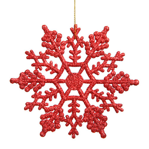 "Club Pack of 24 Red Glitter Shatterproof Snowflake Christmas Ornaments 4"" - IMAGE 1"