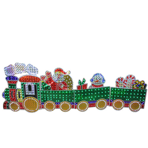 4-Piece Holographic LED Lighted Motion Train Set Outdoor Christmas Decoration - IMAGE 1
