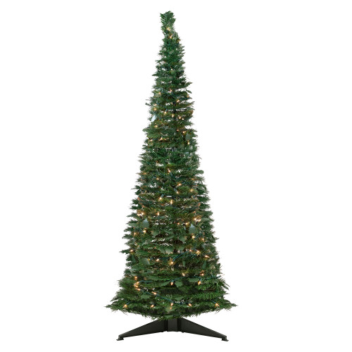 6' Pre-Lit Green Holly Leaf Pop-Up Artificial Christmas Tree - Clear Lights - IMAGE 1