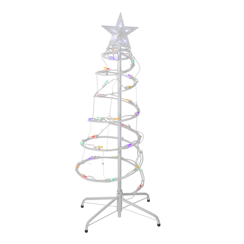 "Set of 2 Multi-Color LED Lighted Spiral Cone Tree Outdoor Christmas Decorations - 48"" - IMAGE 1"