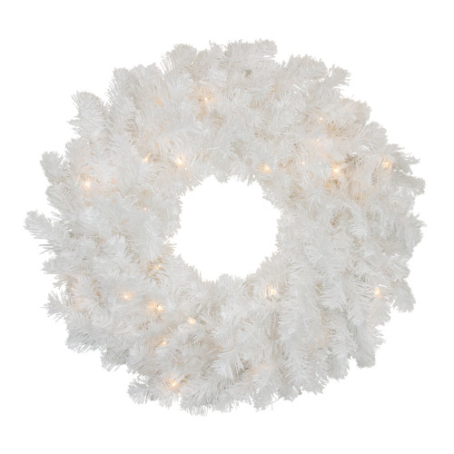 Pre-Lit Snow White Artificial Christmas Wreath - 24-Inch, Clear Lights - IMAGE 1